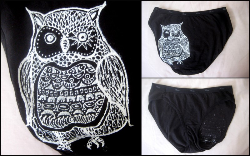 Another drawn underwear, this time a woodcut white owl on black cotton.