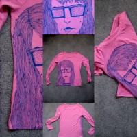Drawn Shirt: Big Hair Girl with Big Glasses