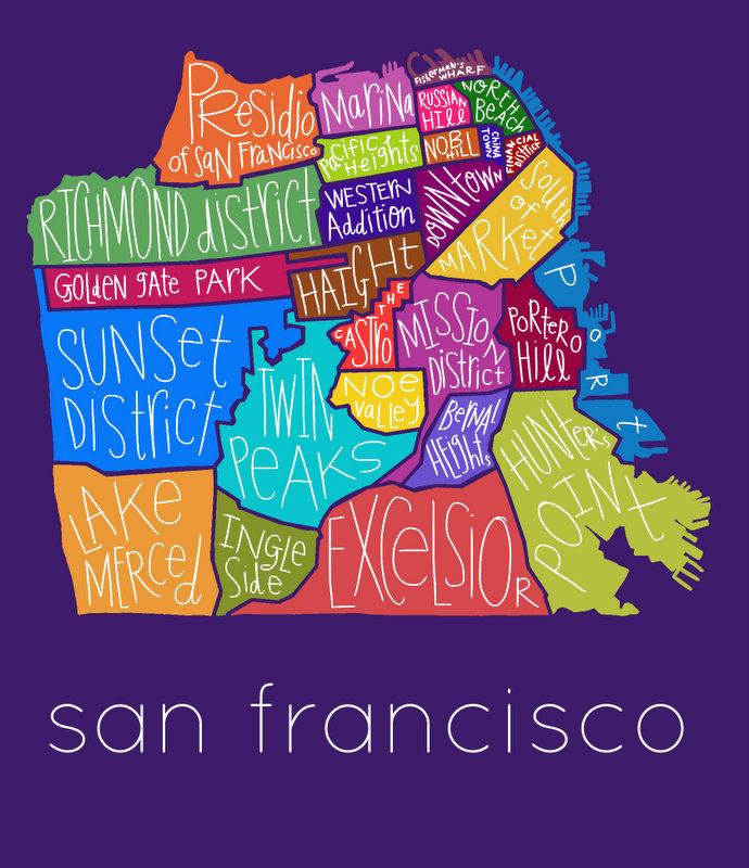 San Francisco Neighborhoods Print Razblint