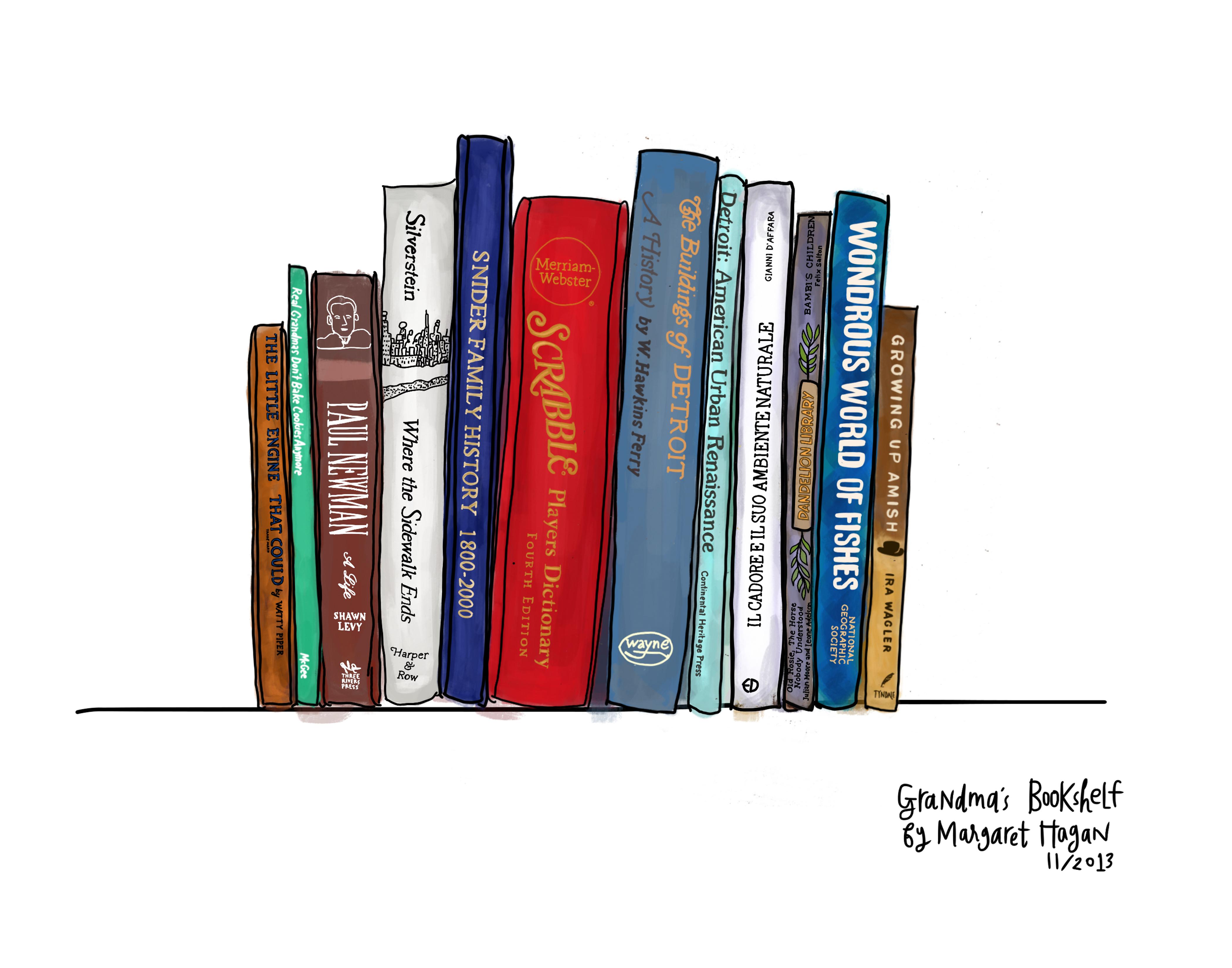 Grandmas Bookshelf 14 X 11