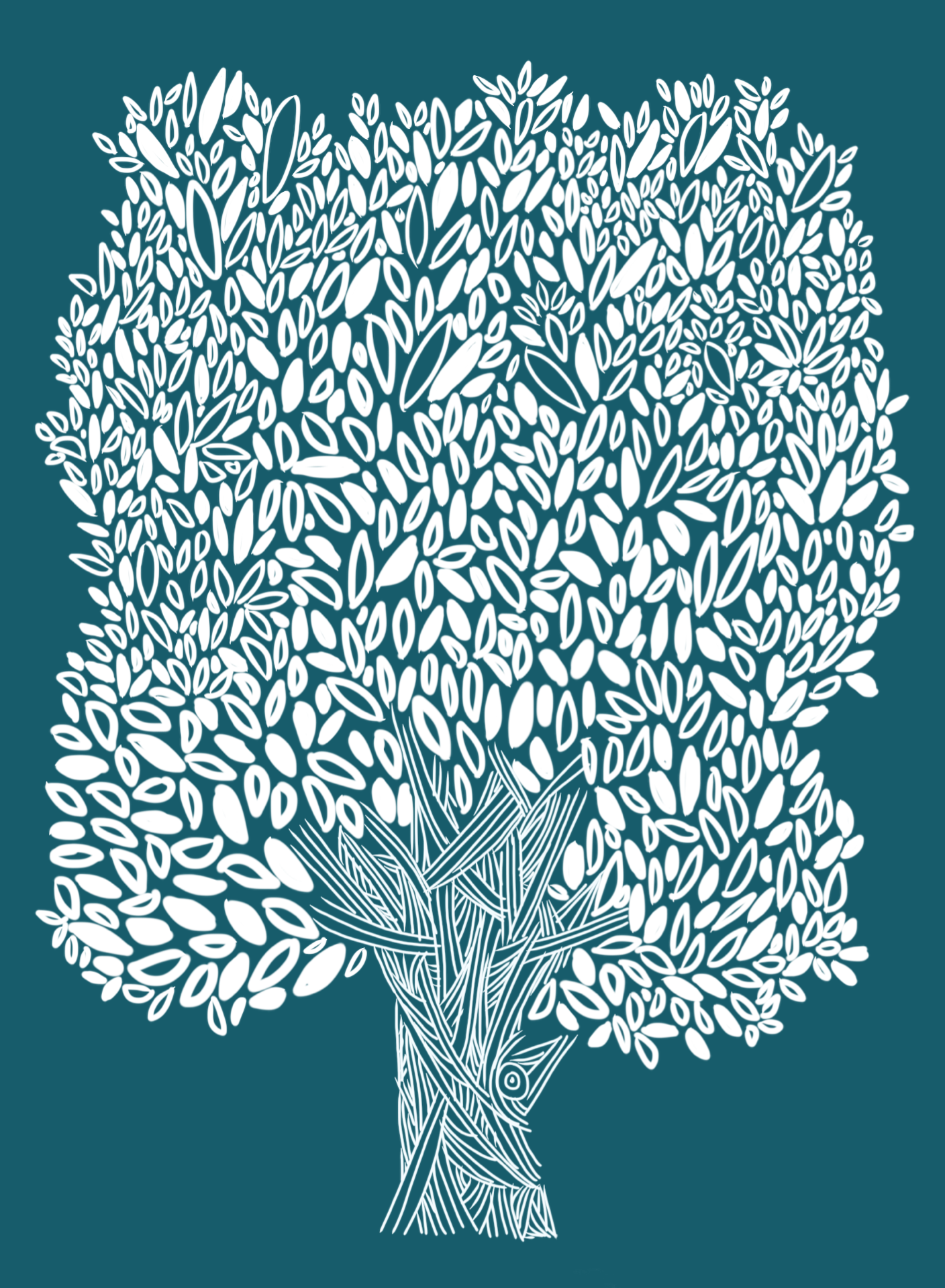 tree drawing white on dark teal
