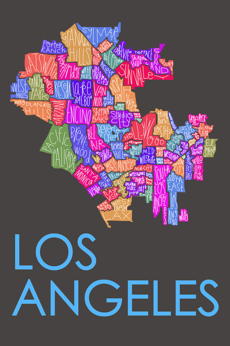 Los Angeles Neighborhood Map Razblint