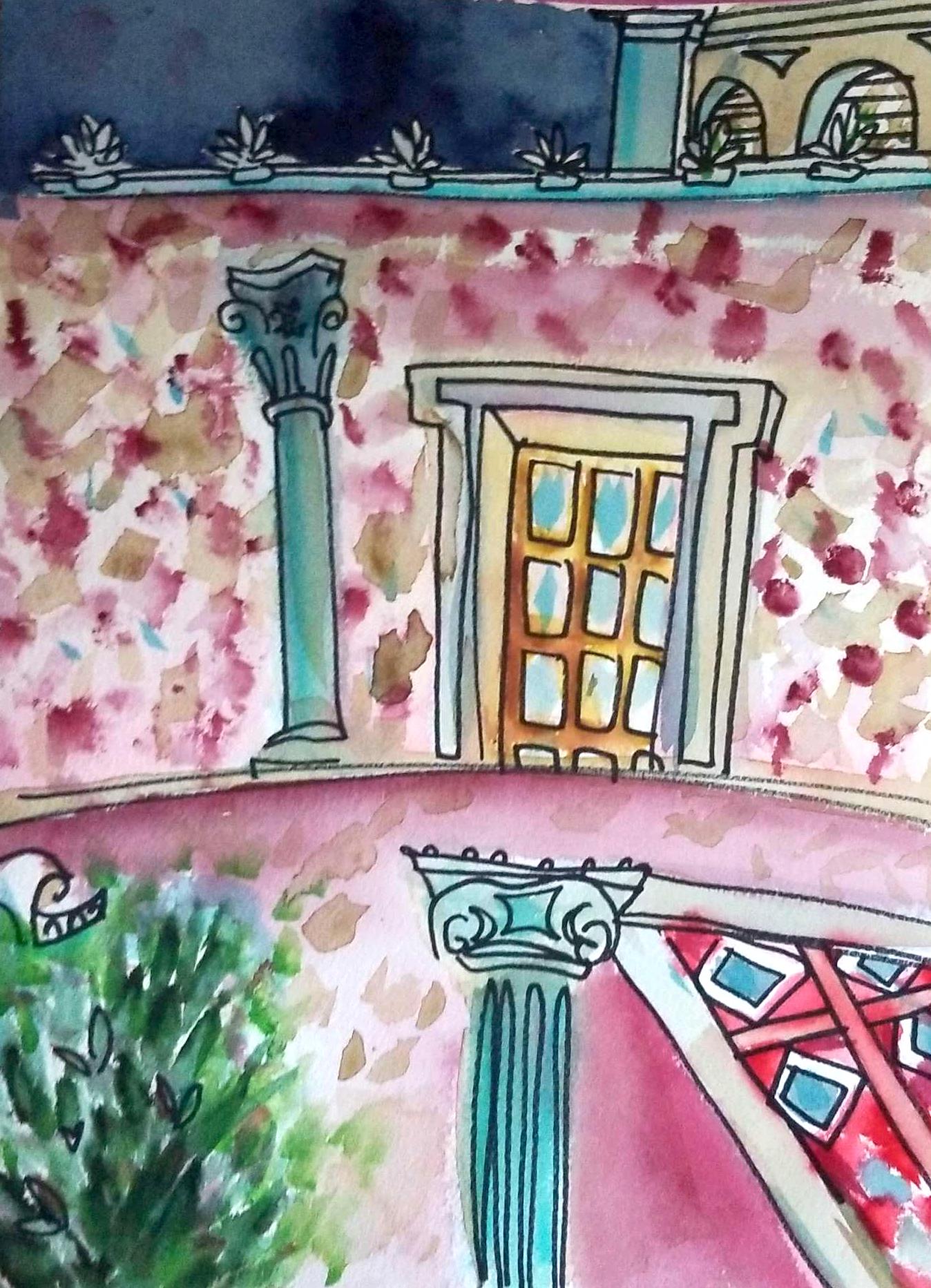 LA Getty watercolor